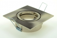 Einbauring, MR16, eckig 85 x 85mm, schwenkbar chrom matt gebürstet inkl. 12V Fassung