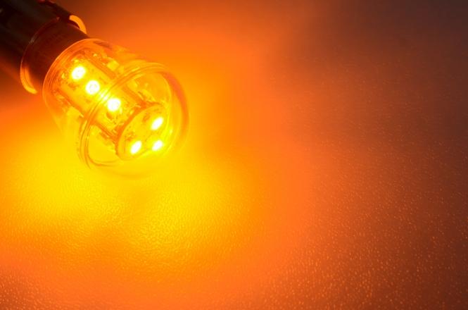 BA15S LED-Miniglobe 25 Lm. 12V AC/DC Gelb 0,7W Signallampe DC-kompatibel