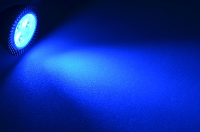 GU5.3 LED-Spot PAR16 44 Lm. 12V DC Blau 3,3 W DC-kompatibel