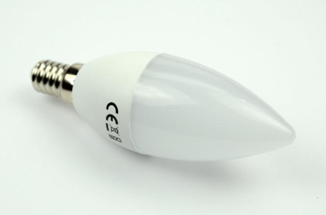 E14 LED-Kerze 470 Lm. 230V AC/DC kaltweiss 4,5 W 24 Stundenbetrieb DC-kompatibel